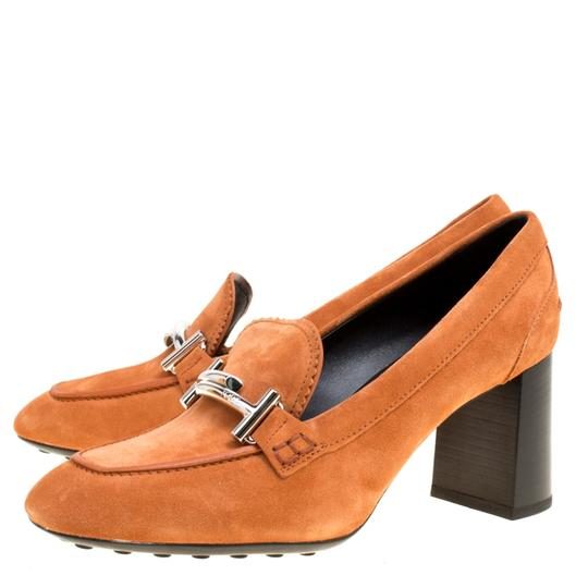 Tod's Suede Leather Orange Pumps Image 5