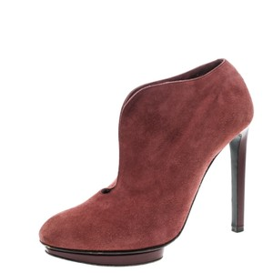 Alexander McQueen Suede Ankle Leather Red Boots