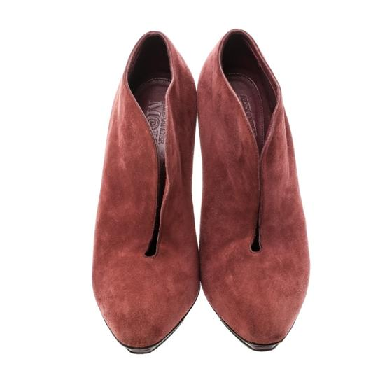 Alexander McQueen Suede Ankle Leather Red Boots Image 1