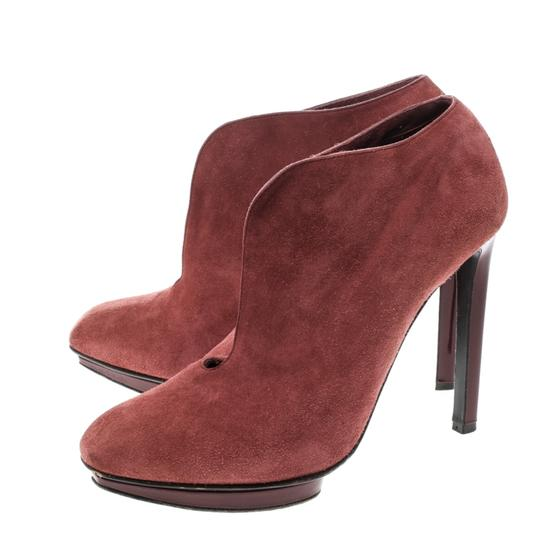 Alexander McQueen Suede Ankle Leather Red Boots Image 5