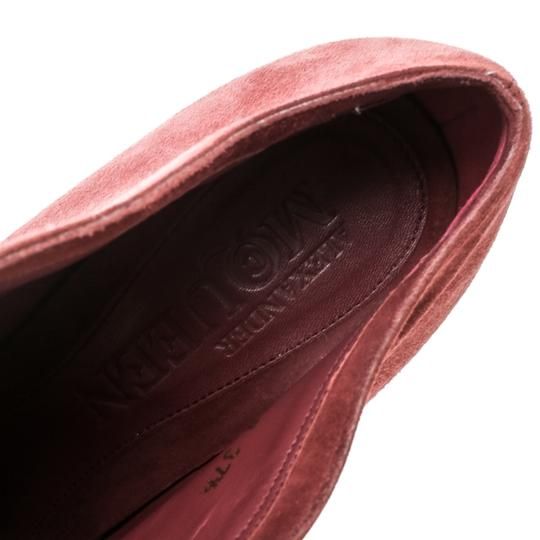 Alexander McQueen Suede Ankle Leather Red Boots Image 6