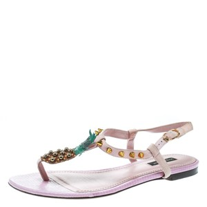 Dolce&Gabbana Suede Detail Leather Ankle Strap Pink Sandals