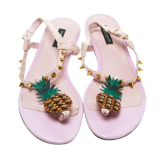 Dolce&Gabbana Suede Detail Leather Ankle Strap Pink Sandals Image 1