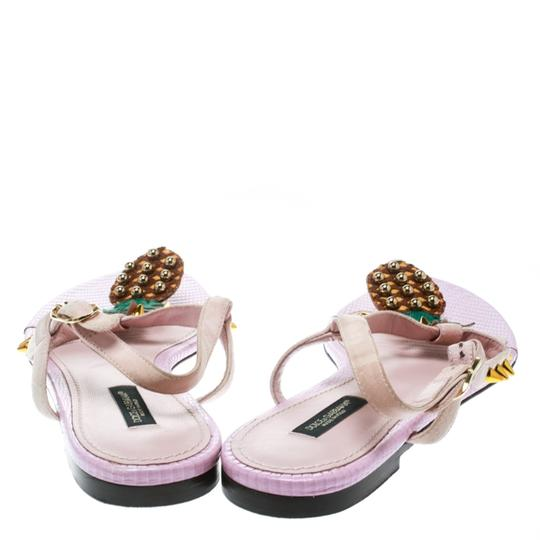 Dolce&Gabbana Suede Detail Leather Ankle Strap Pink Sandals Image 2