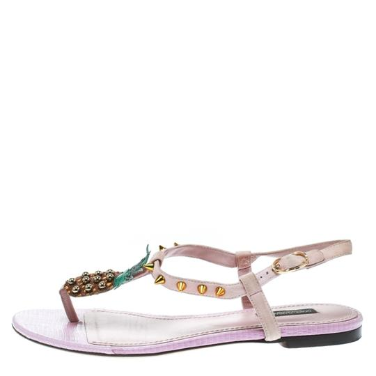 Dolce&Gabbana Suede Detail Leather Ankle Strap Pink Sandals Image 4