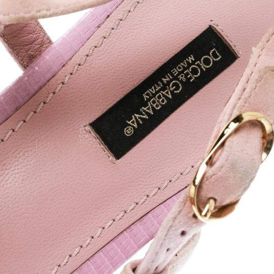 Dolce&Gabbana Suede Detail Leather Ankle Strap Pink Sandals Image 6