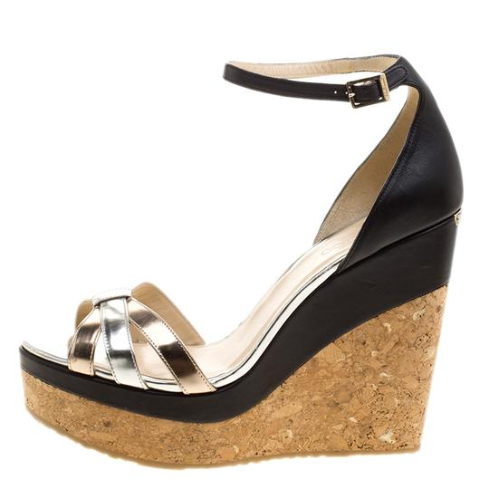 Jimmy Choo Leather Ankle Strap Metallic Sandals Image 1