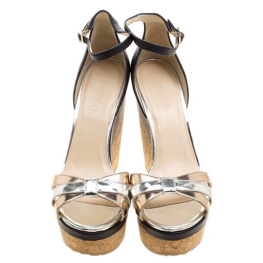 Jimmy Choo Leather Ankle Strap Metallic Sandals Image 2