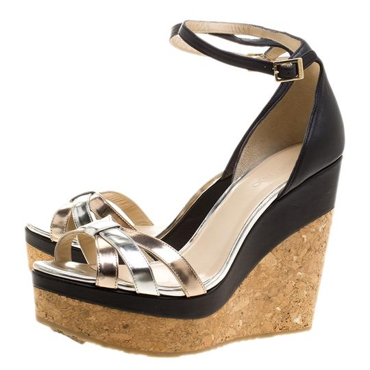 Jimmy Choo Leather Ankle Strap Metallic Sandals Image 6