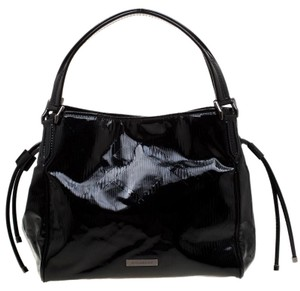 Burberry Canvas Patent Leather Tote in Black