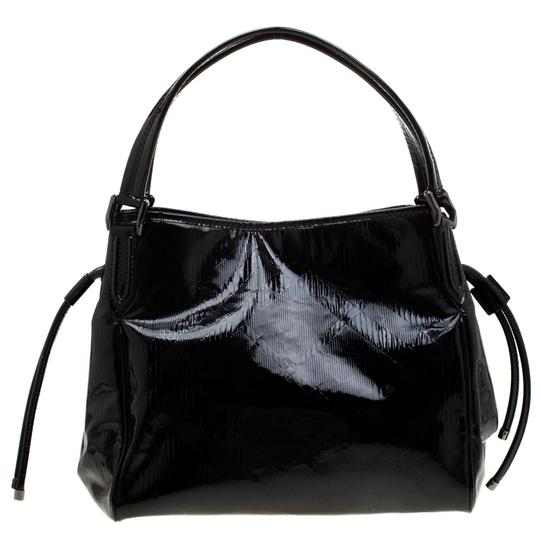 Burberry Canvas Patent Leather Tote in Black Image 1