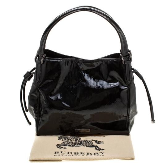 Burberry Canvas Patent Leather Tote in Black Image 11