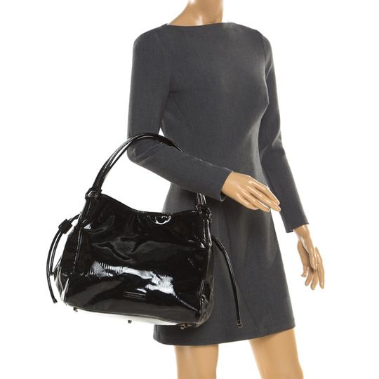Burberry Canvas Patent Leather Tote in Black Image 2