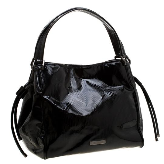 Burberry Canvas Patent Leather Tote in Black Image 3