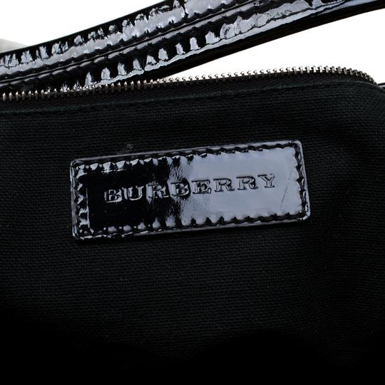 Burberry Canvas Patent Leather Tote in Black Image 9