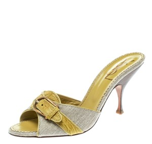Charlotte Olympia Leather Canvas Detail Green Sandals