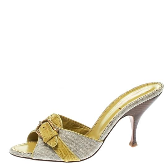 Charlotte Olympia Leather Canvas Detail Green Sandals Image 1