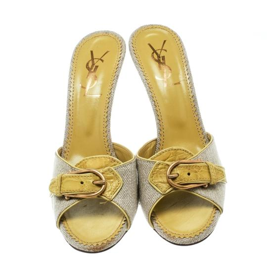 Charlotte Olympia Leather Canvas Detail Green Sandals Image 2