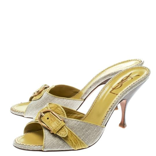 Charlotte Olympia Leather Canvas Detail Green Sandals Image 4