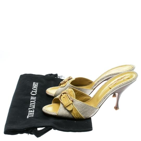 Charlotte Olympia Leather Canvas Detail Green Sandals Image 7