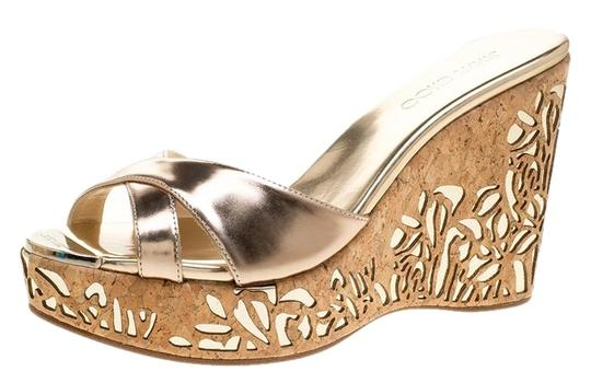 Jimmy Choo Leather Gold Wedge Metallic Sandals Image 0