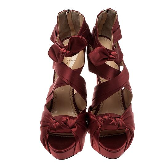 Charlotte Olympia Satin Strappy Platform Red Sandals Image 2