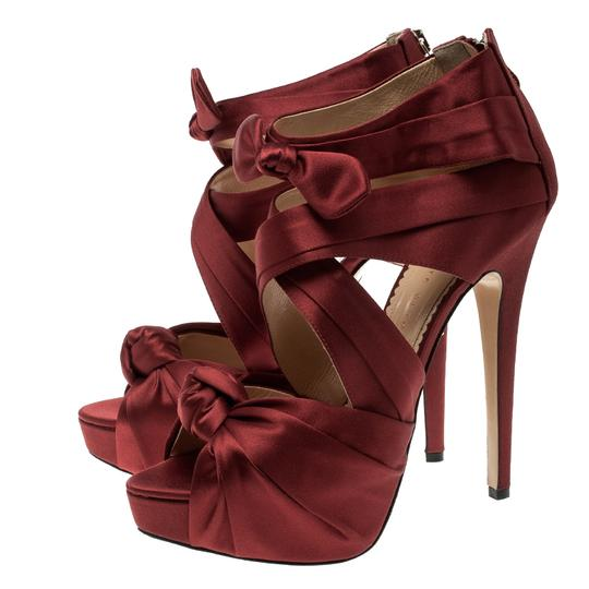 Charlotte Olympia Satin Strappy Platform Red Sandals Image 4