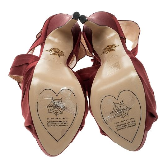 Charlotte Olympia Satin Strappy Platform Red Sandals Image 6