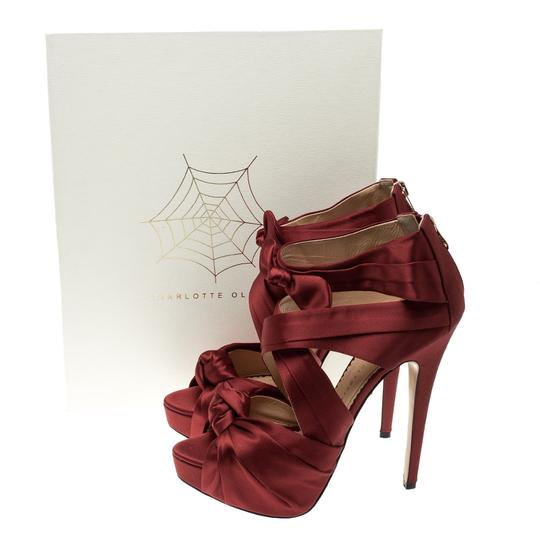 Charlotte Olympia Satin Strappy Platform Red Sandals Image 7