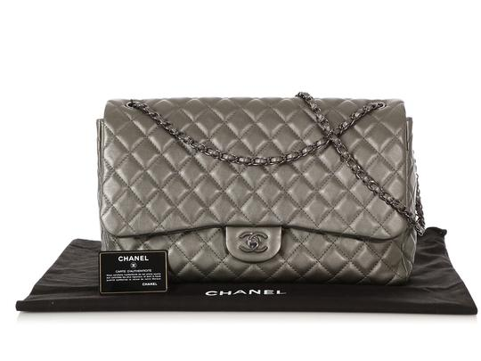 Chanel Ch.q1021.09 Metallic Ruthenium Xl Shoulder Bag Image 7