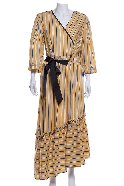Item - Yellow Stripe Mid-length Short Casual Dress Size 12 (L)
