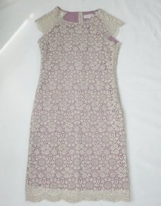 BHLDN Purple Rayon/Polyester/Cotton Shined Lace Shift Formal Bridesmaid/Mob Dress Size 8 (M)