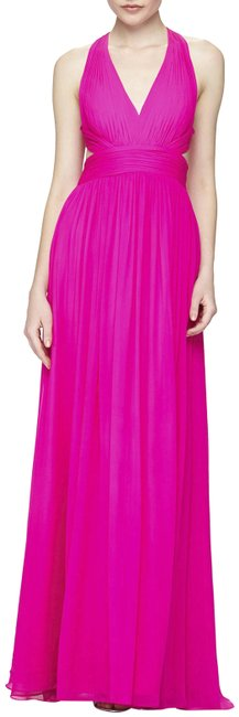 Item - Pink Fuchsia Silk Cutout Back Halter Gown Long Formal Dress Size 4 (S)