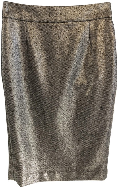Item - Metallic Silver & Black Collection Straight/Pencil Skirt Size 4 (S, 27)