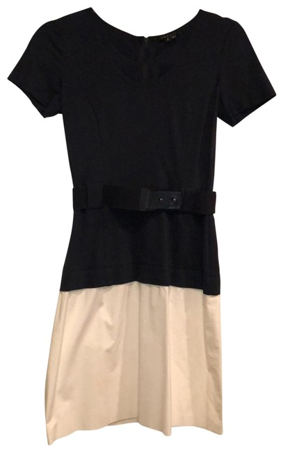 Item - Navy and White Sleeve Belted Short Work/Office Dress Size 2 (XS)