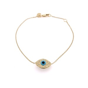 Sydney Evan Sydney Evan 14K Yellow Gold Diamond and Turqoise Evil Eye Bracelet