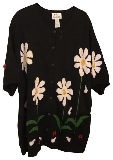 Item - Rn 95524 Black White Flowers and Red Ladybugs Sweater
