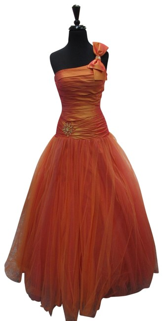 Item - Orange 9063/ Designs Long Formal Dress Size 4 (S)