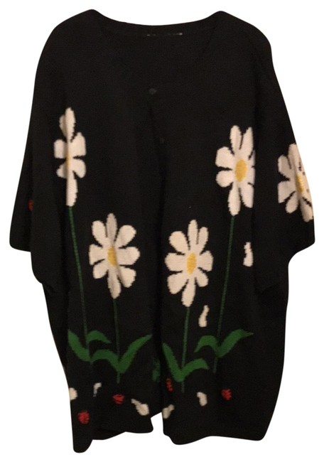 Item - Black with White Flowers and Red Ladybugs Sweater