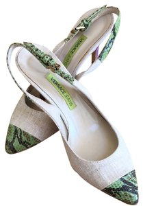 Versace Canvas With Green Crocodile Toe And Belt Pumps