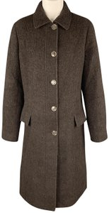 Luciano Barbera Sparkle Alpaca Italy Pointed Collar Trench Coat