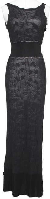 Item - Black Knit Floral 38 Spring 2011 11p Long Casual Maxi Dress Size 6 (S)