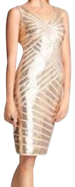 Item - Gold Hello Mid-length Cocktail Dress Size 6 (S)