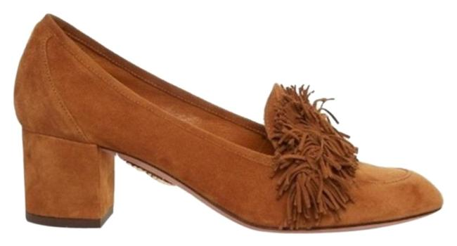 Aquazzura Tan Wild Thing Suede Block Fringe Pumps Size EU 40.5 (Approx. US 10.5) Regular (M, B) Aquazzura Tan Wild Thing Suede Block Fringe Pumps Size EU 40.5 (Approx. US 10.5) Regular (M, B) Image 1