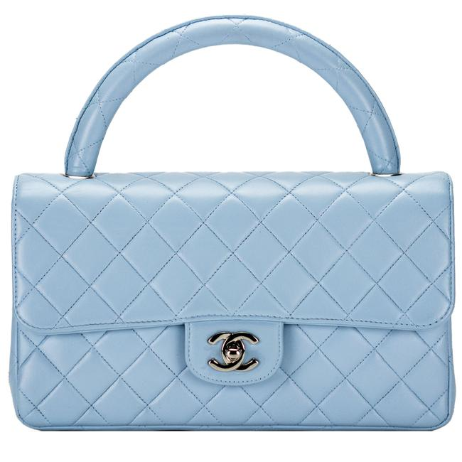 Chanel Coco Handle Classic Flap Rare Vintage Quilted Baby Blue Lambskin Leather Shoulder Bag Chanel Coco Handle Classic Flap Rare Vintage Quilted Baby Blue Lambskin Leather Shoulder Bag Image 1