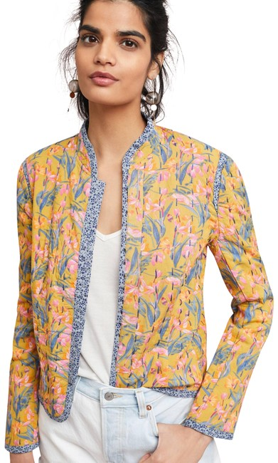 Item - Yellow Motif L Waverly Quilted Jacket Size 12 (L)