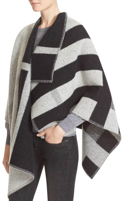 Item - Grey Mega Check Wool Cashmere New with Tag Poncho/Cape Size OS (one size)