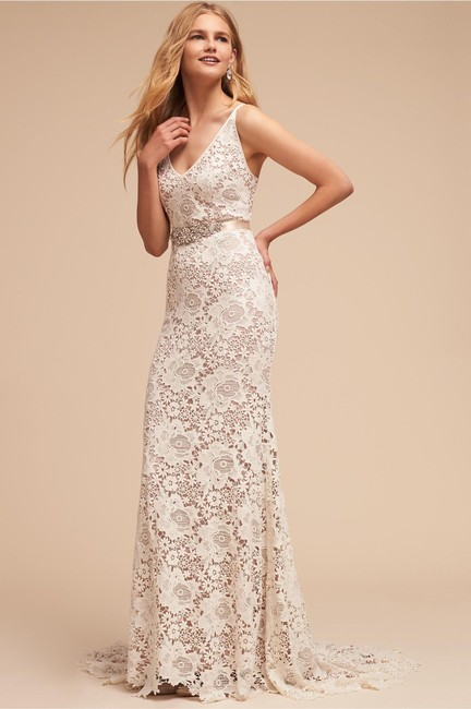 Item - Ivory Nude Lace Andrea Gown Ranna Gill Feminine Wedding Dress Size 2 (XS)