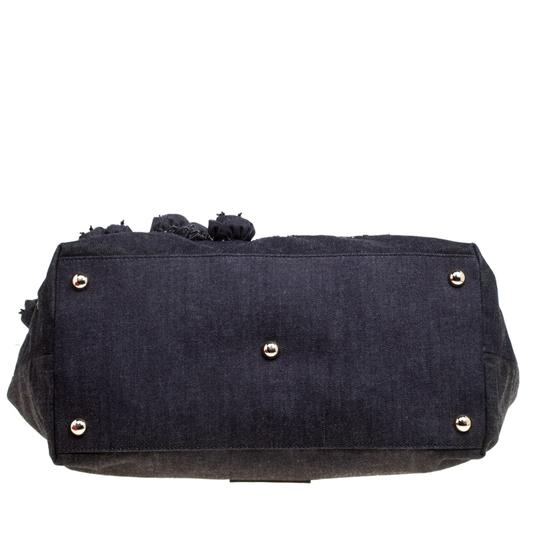 Valentino Applique Patent Leather Beaded Sequin Canvas Blue Clutch Image 4