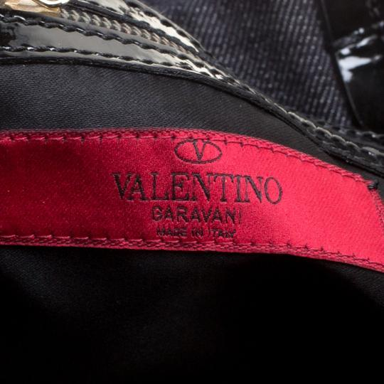 Valentino Applique Patent Leather Beaded Sequin Canvas Blue Clutch Image 6